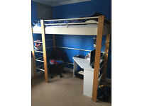 Tall IKEA deck bed with matress - single, plus corner desk