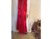 Red long satin diamonte Formal Gown