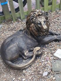 Huge bronze effect lion statue