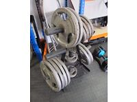 157.5kg Tri-Grip Cast Iron Olympic Weight Plates plus Tree