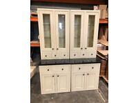 Stunning Granite Side Board Dresser with Glass Display Cabinet