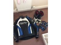 RST armoited leather jacket with boots and gloves leathers