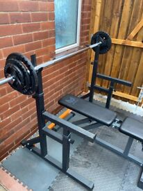 10kg barbell plus weights plates, squat rack and weights bench