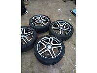 POLISHED MERCEDES BENZ AMG ALLOY WHEELS WITH TYRES 5x112 225/44/17 CLASS W203 W204 E CLASS