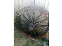 Rustic Cart-wheel Bench Teak Wood Bench with Back Recycled Wagon Wheel in need of TLC