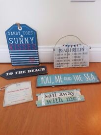 Decorative beach signs