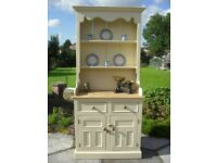 Solid Pine Farmhouse Country Dresser In Farrow & Ball Cream No 67