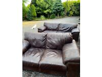 Real Brown Leather Sofas. 3 seater and 2 seater. Excellent quality RRP £2000