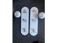 Porcelain finger plates and door knobs