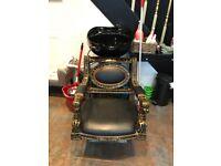 Hair salon wash basin and chair