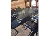 PATIO SET WITH 6 CHAIRS - METALLIC GREY - GLASS TOP