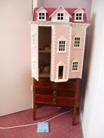 3 STOREY WOODEN DOLLS HOUSE WITH FURNITURE AND SOME FIGURES