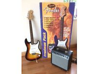 Full-size electric guitar with amp and lead. Squier by Fender Stratocaster Pack with Frontman. £160
