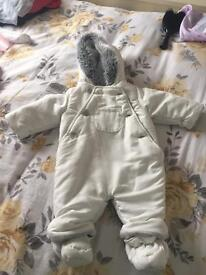 John Lewis boys or girls unisex snowsuit baby age 0-3 months