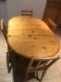 Pine dining table with 5 chairs