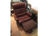 Brown Stressless Leather Recliner Chair and Footstool - good condition,
