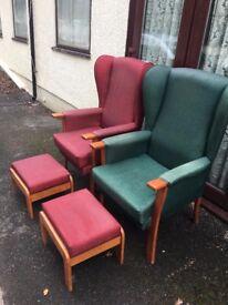 CAN POST Waterproof Wing Back Fireside Chair High Arm Nursing Home Easy Wipe Pair Bundle Orthopaedic