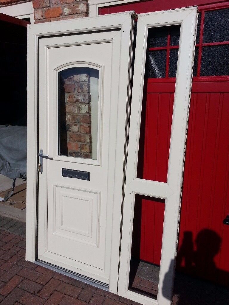 Cream UPVC door and frame with side panel
