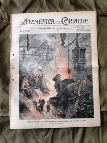 La Domenica del Corriere 20 Gennaio 1907 Forno officina Pirenei Anno giuridico