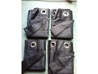 Black Eyelet Curtains with tie backs. 2 pairs