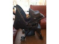 Joie travel system with car seat and Chicco baby carrier/ jumperoo