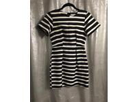 HM Stripped black and white dress size 8