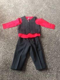 Baby Boy Black and Red Suit sized 12 months