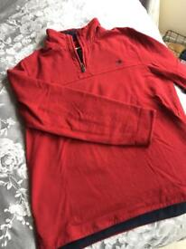 Crew clothing - men's jumper with zip in red (large)