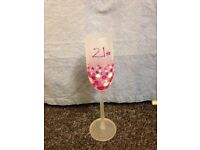 21st pink champagne flute
