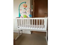 Swinging crib and foam mattress for sale