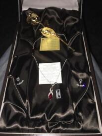 Swarovski gift set with 24kt gold rose boxed
