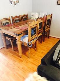 6 seater table and chairs solid wood lovely condition
