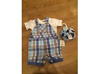 Brand new baby boy 0-3 months check dungarees/romper with shoes