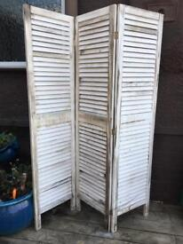White wood slat room divider separater privacy screen