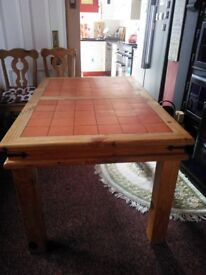 Solid pine and terracotta tiled table + chairs