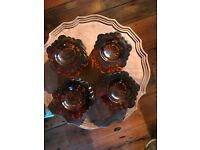 vintage amber glass piano stops