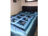 Beautiful curtains x3 with FREE matching double bedspread & pillowcases/cushion cases x2