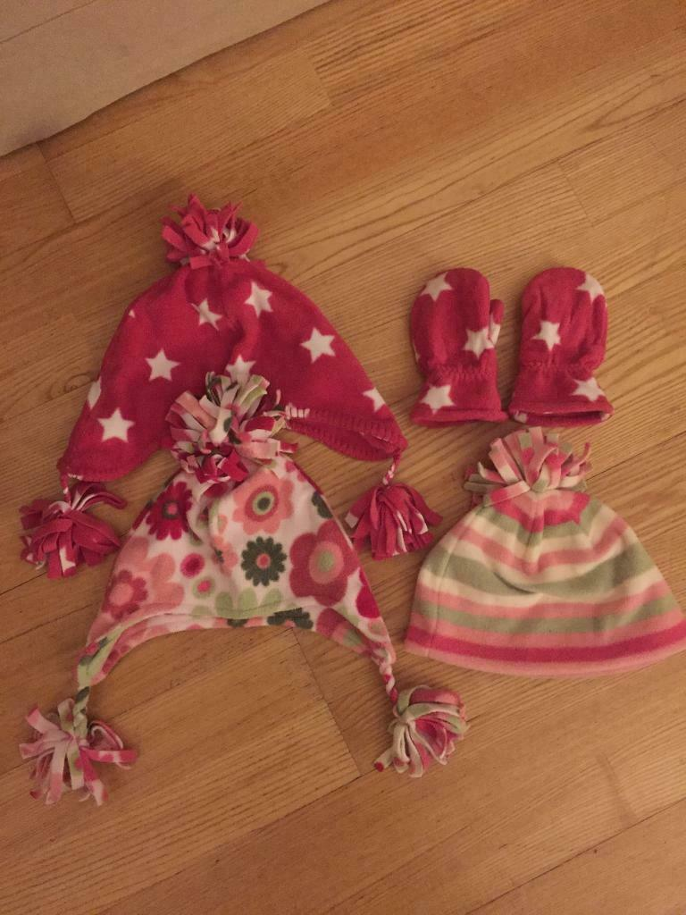 601c82425be Next Fleece Hats Mittens Gloves Pink Stars Flowers Stripes Kids Children  Girls 12-18 months