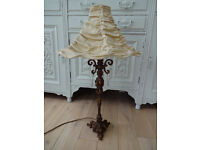 Tall Gold Antique Style Lamp Base With Cream Ruffled Lampshade Shabby Chic