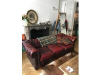Chesterfield red leather sofa