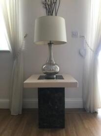Table and lampshade.