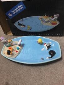 Looney tunes beach scene plate.