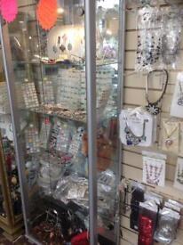 Silver Glass Jewellery / Art Display cabinet (shop, retail, floor standing)