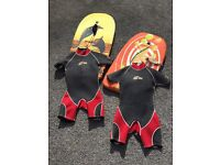 2 body boards 2 wetsuits for children