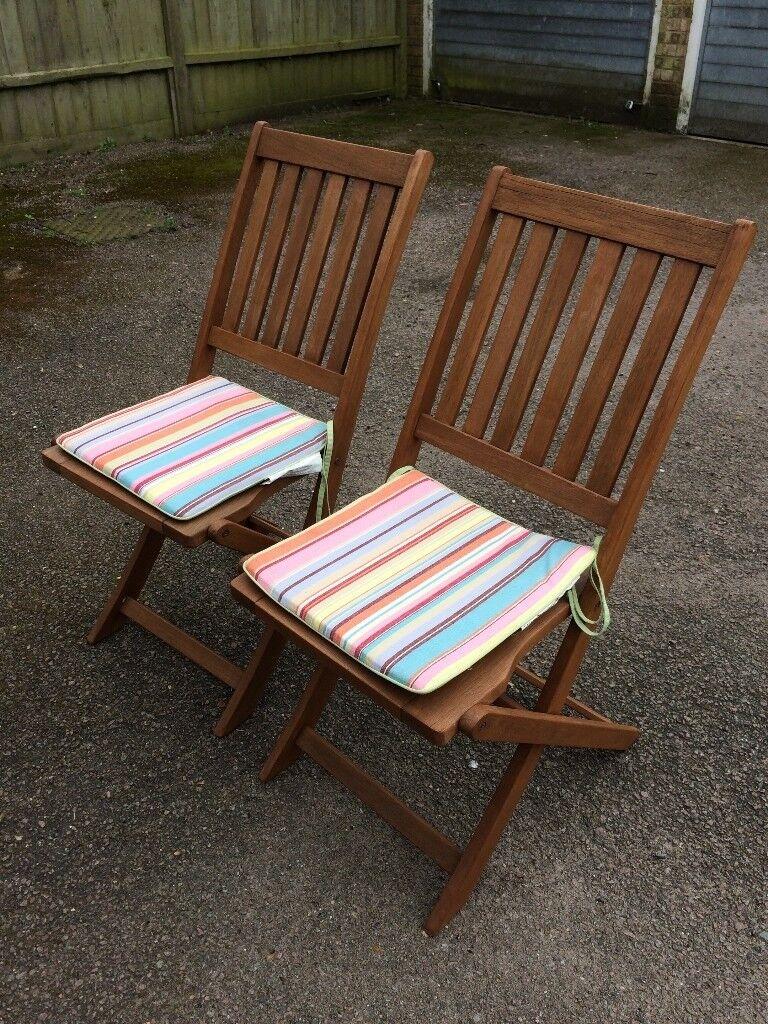 Pair of wooden garden chairs ipswich