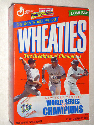 1999 YANKEES WHEATIES CEREAL BOX - New York Yankees world series champions