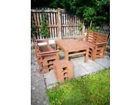 Garden patio set table bench