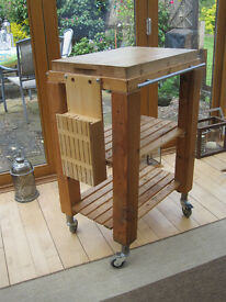 Butchers block kitchen trolley with removable knife block