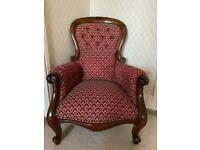 Oak Old Fashioned Red print Armcahir