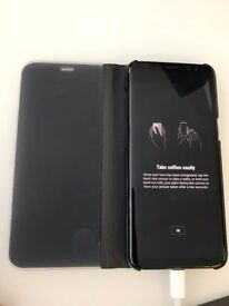 Samsung Galaxy S8 SM-G950F - Midnight Black (Unlocked) + Clearview Standing case
